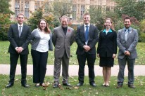 UKSEDS Committee with Jon Culshaw. Left to right: Jeremy Nickless (Treasurer), Zoe Versey (Events Officer), Jon Culshaw, Richard Painter (Projects Officer), Jane MacArthur (UK NPoC for SGAC), Ryan Laird (Secretary & UK NPoC for SGAC). Credit: Jerry Stone