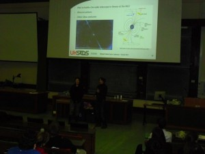 Freya Aldred and Susannah Jones (Exeter PhySoc) talking about plans for a radio astronomy project.