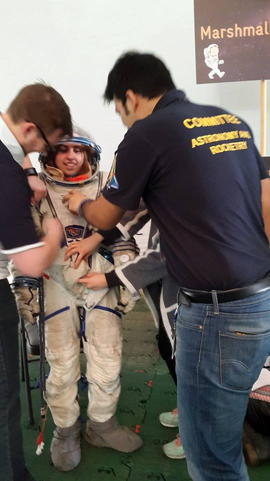 Testing out a spacesuit. Credit: Leicester AstRoSoc