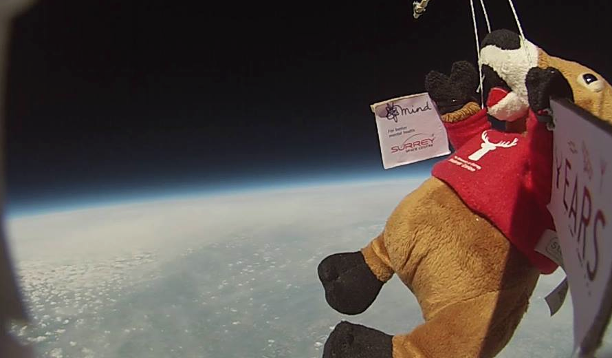 Our Surrey branch's mascot looks back at the Earth