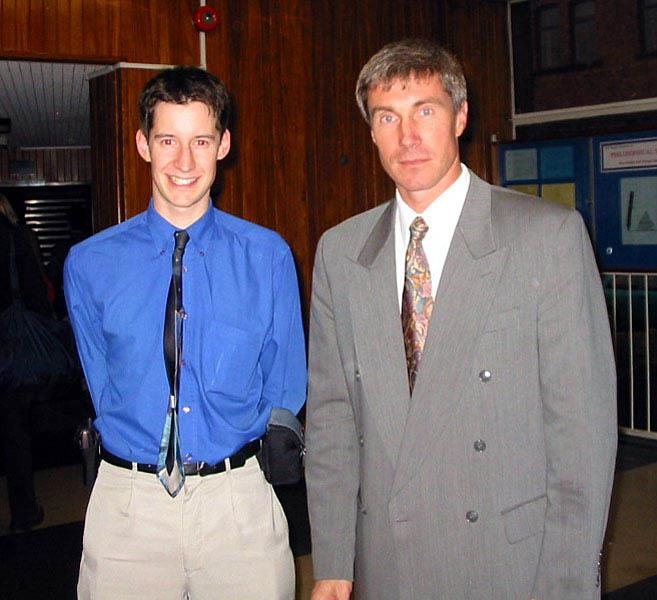Mark Bentley with Russian cosmonaut, Sergei Krikalev (now Director of the Gagarin Cosmonaut Training Centre) at the 2001 UKSEDS Conference at the University of Newcastle Photo credit: Mark Bentley.
